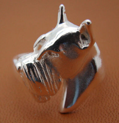 Large Sterling Silver Schnauzer Head Study Ring