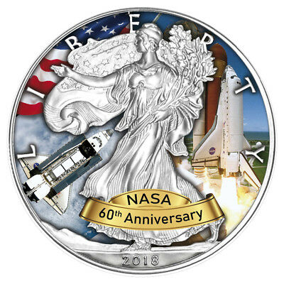 USA 1 Dollar 2018 Silver Eagle Space Shuttle 60 Jahre NASA 1 Oz Silber ST