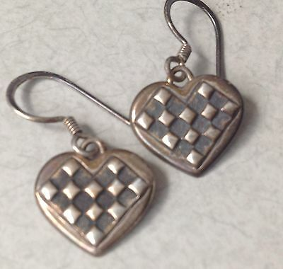 Vintage Handcrafted Sterling Earrings, Art Deco Checkered Hearts, Very Cool!