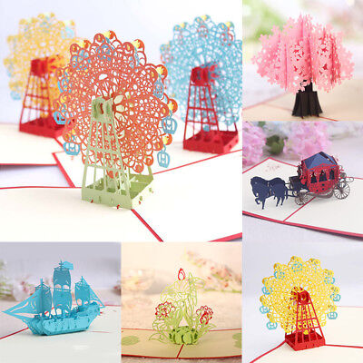 Kids 3D Pop Up Postcard Birthday Festival Greeting Cards Gifts