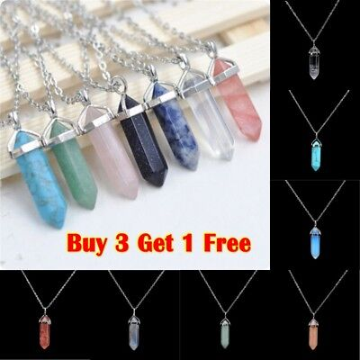 Natural Gemstone Chakra Healing Quartz Crystal Point Stone Pendant Necklace