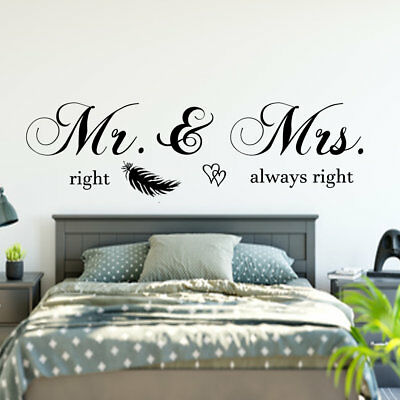 WANDTATTOO SCHLAFZIMMER WANDAUFKLEBER Mr & Mrs right always right ...