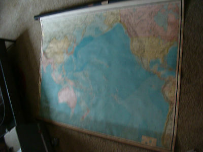 Vintage 1908 large wall map: AUSTRALIA Rand McNally in metal tube, works, 42 x60