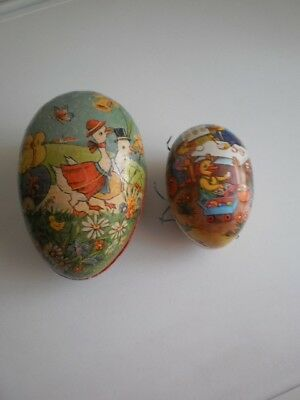 2 Ostereier DDR Pappei Candy Container Ei Pappe Ostern