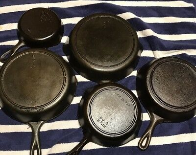 Vintage lot of 5 Cast Iron Skillet #'s 5 6 7 8 Wagner BSR 3 Notch Lodge Skillets