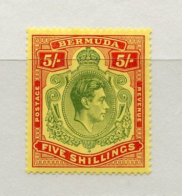BERMUDA 1938-53 5/- green and red mint hinged. SG 118. Cat £150.