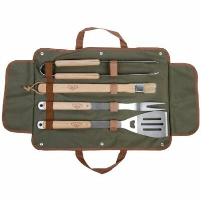 4 Piece Barbecue Grill Tool Set Outdoor Wood Metal With Case Brown NEW