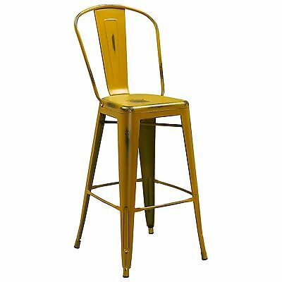 "Tolix Style Metal Distressed Antique Yellow Outdoor Restaurant 30"" Bar stool"