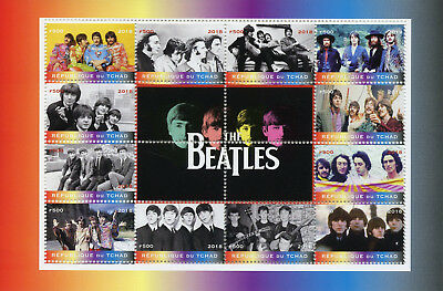 Chad 2018 CTO The Beatles John Lennon Paul McCartney 12v M/S Music Stamps