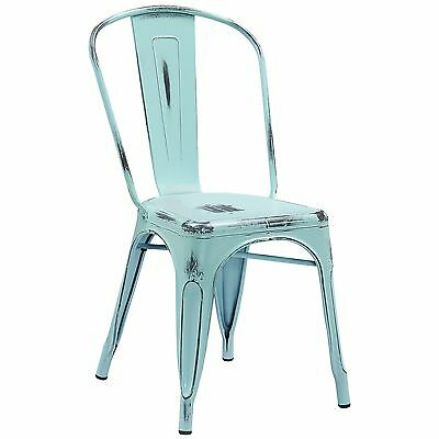 Tolix Style Metal Distressed Antique Dream Blue Outdoor Restaurant Chairs