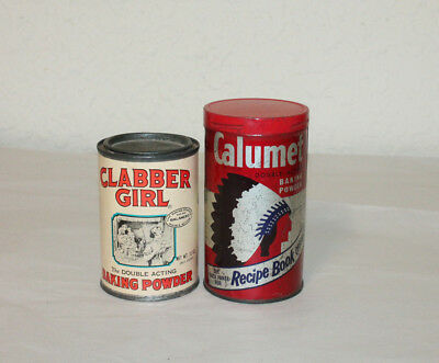 Lot of 2 Vintage Baking Powder Tins - CALUMET & CLABBER GIRL BAKING POWDER