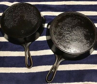 Wagner Sidney Cast Iron Skillet Lot Of 2 Skillets Heat Ring Seasoned #'s 7 8