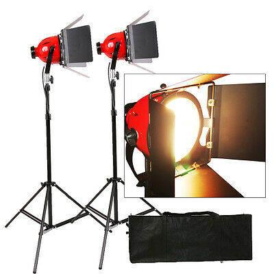 Kit 2X Tungsten 800W Redhead Red Head Video Studio Light Focus Earthed Pro