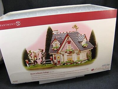 Department 56 Snow Village Celebrate Love Hearts and Blooms Cottage 56.55097 SET