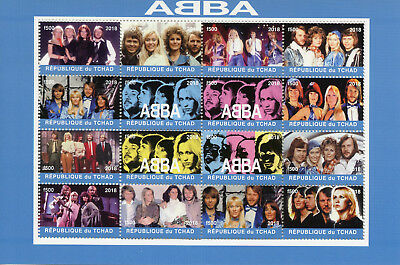 Chad 2018 MNH ABBA 16v M/S Music Pop Stars Celebrities Stamps