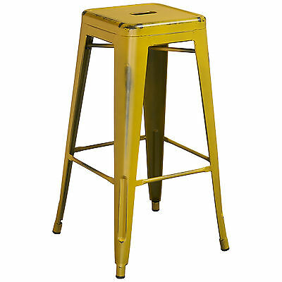 "Tolix Style Outdoor Metal Backless 30"" Bar Stool Distressed Antique Yellow"