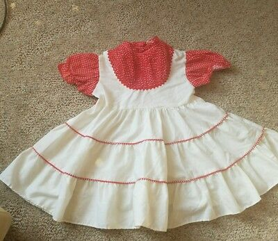 Vintage Red Polka Dot Pinafore Style Dress Valentine's day 18 24 months 2t 3t