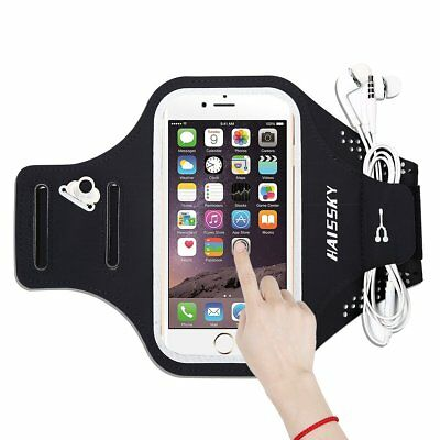 "HAISSKY iPhone Android 5.5"" Protective  Armband Case Workout Card Pocket Black"