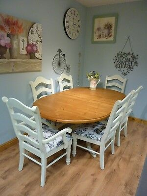 Beautiful Shabby Chic Solid Pine Extending Dining Farmhouse Table and 6 Chairs
