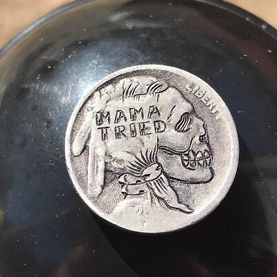 Hobo Nickel Coin Art Mama Tried Merle Haggard Skull
