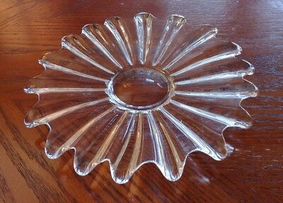 "Vtg Starburst Shape Clear Glass Plate Platter 11"" Star Sunburst MCM Fluted Wavy"