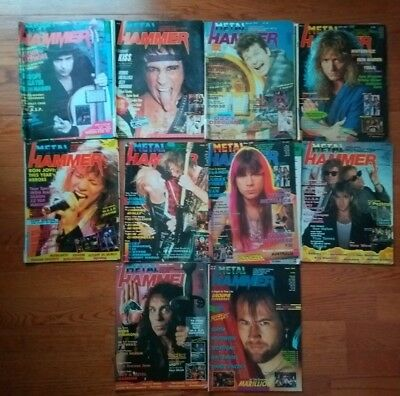 10x Metal Hammer Magazines - Vintage - 1986 1987 80's Slayer Ritchie Blackmore