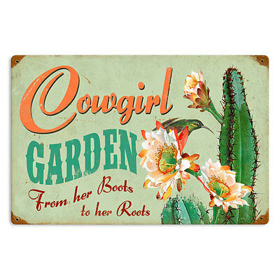 Cowgirl Garden Boots To Roots Western Cactus Flower Tin Metal Steel Sign 18x12