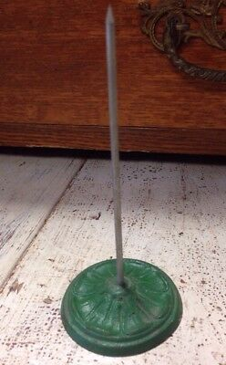 Antique Vintage cast iron desk note receipt bill sales ticket holder ----