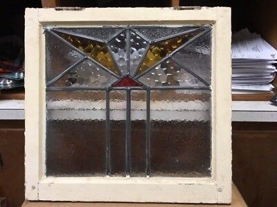 Old English Leaded Stained Glass Window Geometric Design  2 Color 20X18-3/8