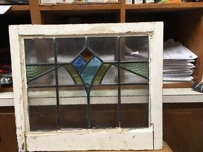 "Old English Leaded Stained Glass Window Geometric Design  21-1/4"" X 18-3/8"""