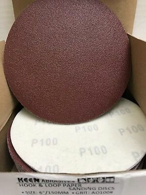 "25- 100 Grit  6"" Dia Hook & Loop Sandpaper KEEN Abrasives 32514"