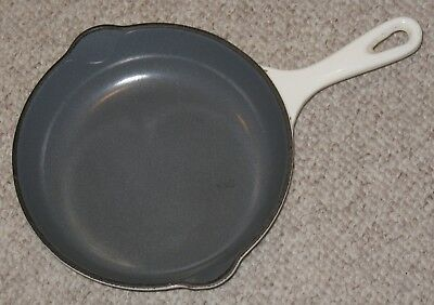 Vtg Le Creuset White/ Gray Enamel Cast Iron No. 20 Skillet / Fry Pan France