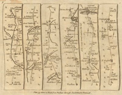 Northallerton Darlington Durham Newcastle upon Tyne. KITCHIN road map 1767
