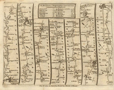 Hereford Worcester Bromsgrove Solihull Coventry Leicester. KITCHIN road map 1767