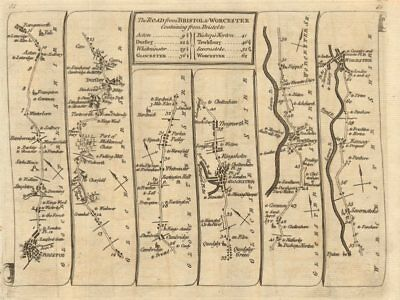 Bristol Dursley Gloucester Tewkesbury Kempsey Worcester. KITCHIN road map 1767