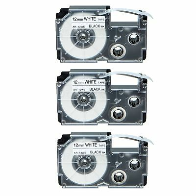 3PK Compatible Casio XR-12WE Black on White Label Tape for EZ KL-430 1/2""