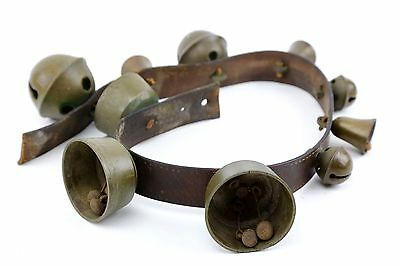 ANTIQUE Brass Carriage Sleigh Bells on Leather Belt Triple Clappers Old Vintage