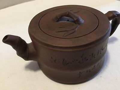 Small Oriental Pottery Teapot Red Brown Clay Strainer Bamboo Writing On Sides