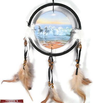 """6.5"""" Running Horses Dream Catcher With Beads,Fur & Feathers Wall Decoration"""