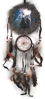 """5"""" Moon Wolfs Double Fur Trimed Dream Catcher W Beads & Feathers Wall Decoration"""