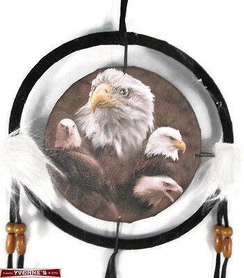"""6.5"""" Eagle Collage Dream Catcher With Beads,Fur & Feathers Wall Decoration"""