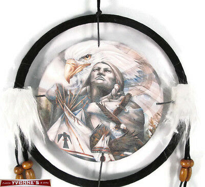 """6.5"""" Southwest Brave Dream Catcher With Beads,Fur & Feathers Wall Decoration"""
