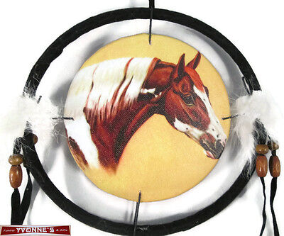 """6.5"""" Paint Horse Dream Catcher With Beads,Fur & Feathers Wall Decoration"""