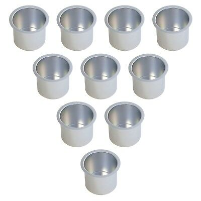 SILVER Jumbo Aluminum Drop In Cup Holders For Poker Table and Boat(10 Pack) -NEW