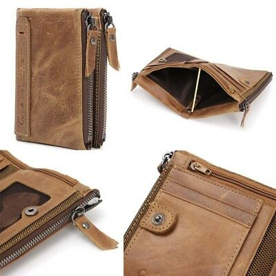 Men Genuine Leather Cowhide Wallet Bifold Coin Purse Card Holder Great Gift CAUS
