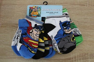 NEW DC Comics Justice League Toddler Boys Socks 6 Pairs 2T-4T