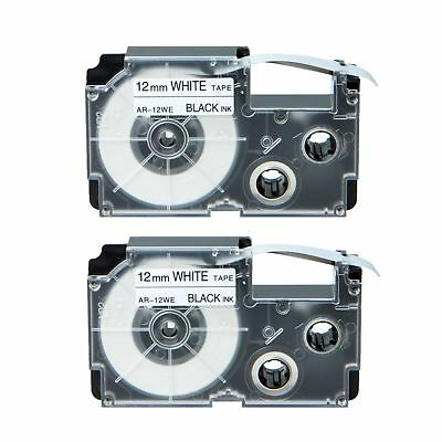 2PK Compatible Casio XR-12WE Black on White Label Tape for EZ KL-780 12MM 1/2""