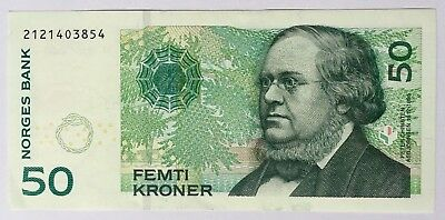 50 Kroner Ferti Kroner Note NORWAY Currency UNC 2005 series