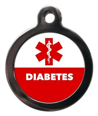 Diabetes Illness Tag-Pet Warning ID-Pet ID Tags-Engraved FREE Pet Identification
