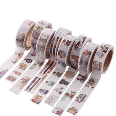 Roll Hand-drawn Adhesive Washi Paper Tape Masking Sticker Craft DIY Diary Decor